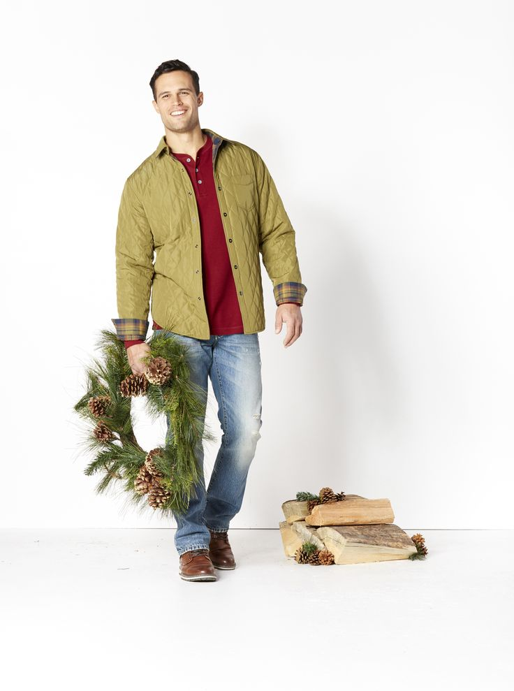 Holiday Casual. Wrap up comfort and style. Give him a relaxed and versatile look that's easy to care for. He'll love this reversible flannel button-up, soft Henley shirt, distressed jeans and boots he was born to wear.