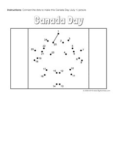 Canada Day connect the dots page with the Canadian flag. Multiple puzzle options (dot to dot puzzle)