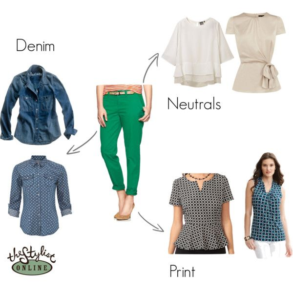 Green pant outfit ideas -- I just got a pair of green skinny jeans, and I have only two shirts to go with them!