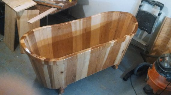 18 best wooden bathtubs images on pinterest soaking tubs for How deep is a normal bathtub