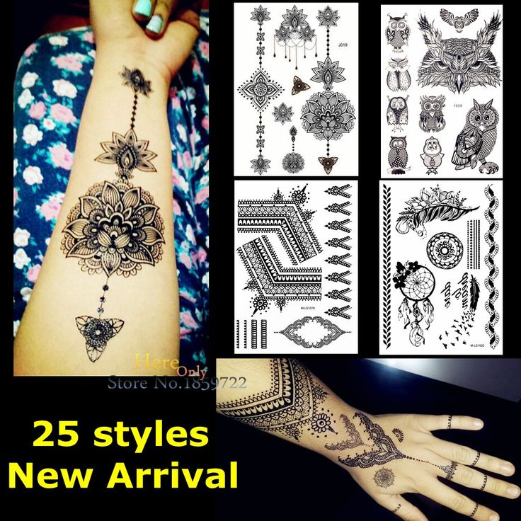 1PC Large Indian Mehdi Black Ink Henna Tattoo Lotus Flower Pendants Lace Jewelry Waterproof Temporary Tattoo Sticker Decal HBJ19