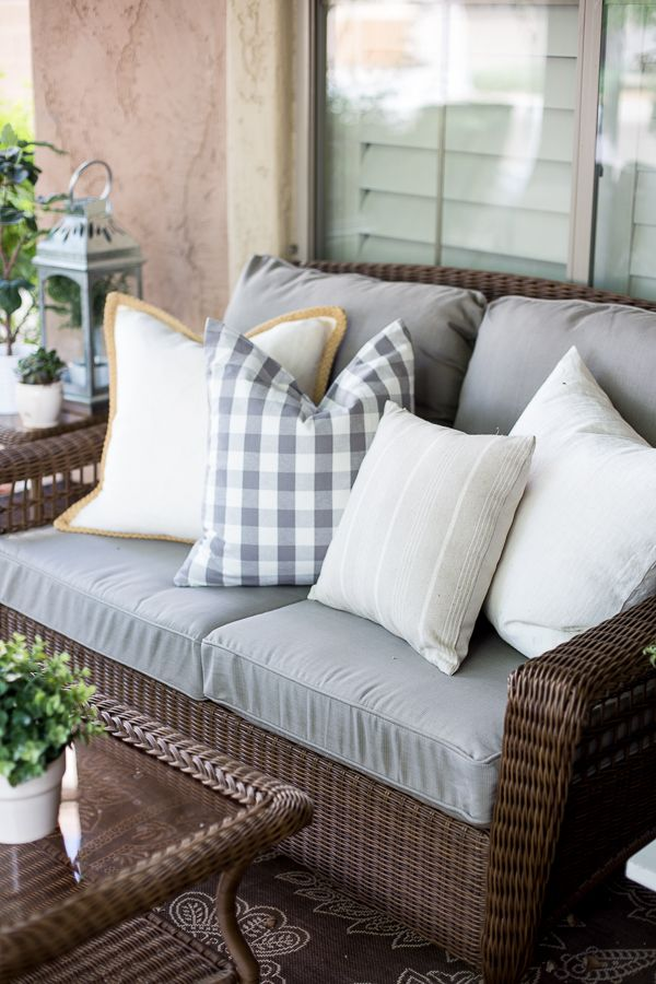 Hampton Bay Spring Haven Patio Set on a French-inspired small courtyard