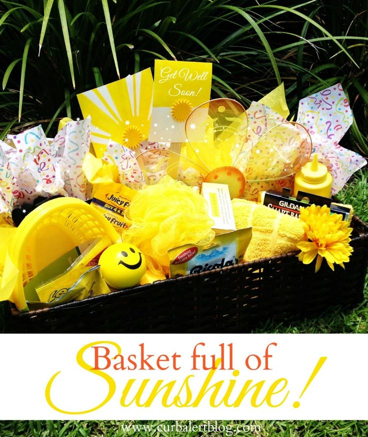 Get Well Soon Gift: Basket full of Sunshine & Yellow Goodies via Curb Alert! www.curbalertblog.com