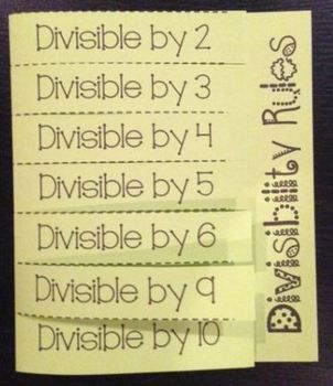 This foldable organizes the rules for divisibility.  It includes 2, 3, 4, 5, 6, 9, and 10. This is a GREAT item to add to your interactive notebooks!