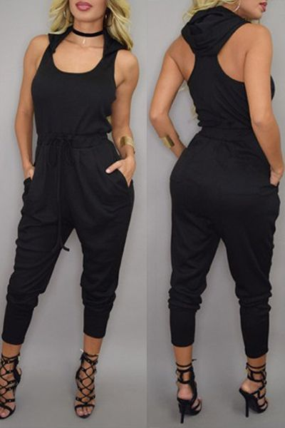 Stylish Hooded Sleeveless Solid Color Jumpsuit For Women