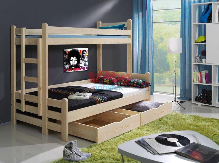 Patrová postel Kevin s rozšířeným spodním lůžkem přírodní - Dětské patrové postele