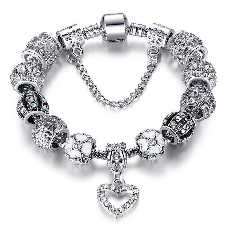 Beautiful Pandora Charm Bracelet - Silver Crystal Beads