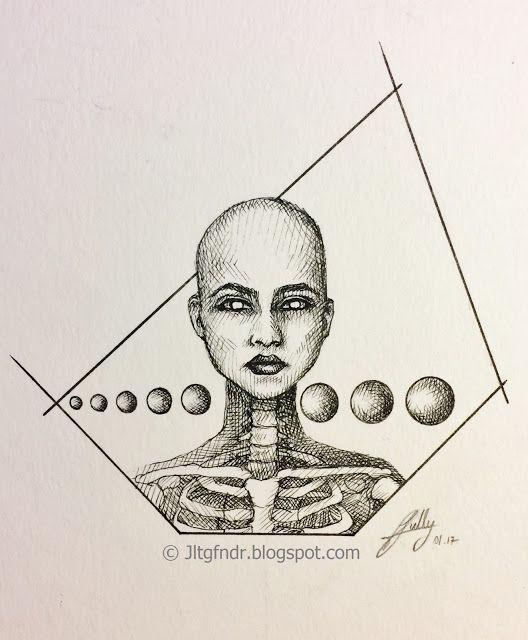 Illustration - Through - 01.17 Illustration semi réaliste/semi géométrique réalisée au stylo Rotring 0.05 à 0.5  Plus de détails et photos sur www.jltgfndr.blogspot.com  #Portrait #Squelette #Skeletton #Bones #Face #Visage #Girl #Bald #DarkLipstick #Rotring #Destiny #SeeThrough #XRays #RayonsX #Surréaliste #Surrealist #CrossHatching #Awoken #Bubbles #Bulles #Planètes #Tattoo #Tatouage #Illustration #Géométrie #Geometric #Bust #Frame #BlackAndWhite #NoirEtBlanc  #Jltgfndr