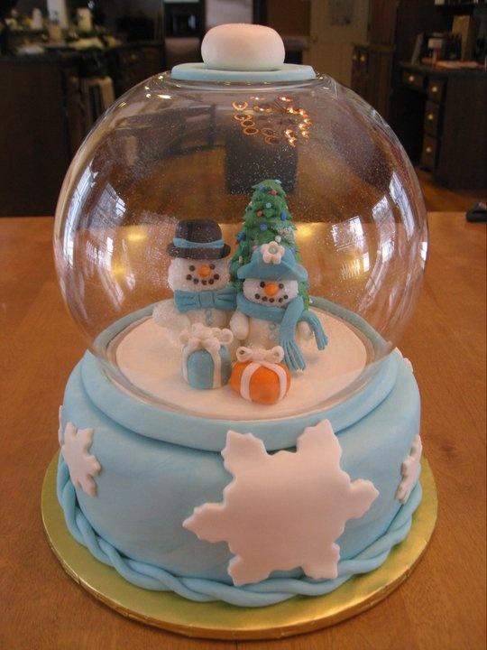 snow globe cake- made by my mom