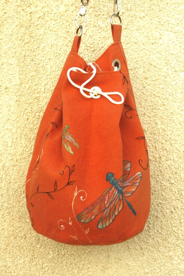 Vegan Orange cotton hand painted shoulder bag by AtelierGOBI on Etsy