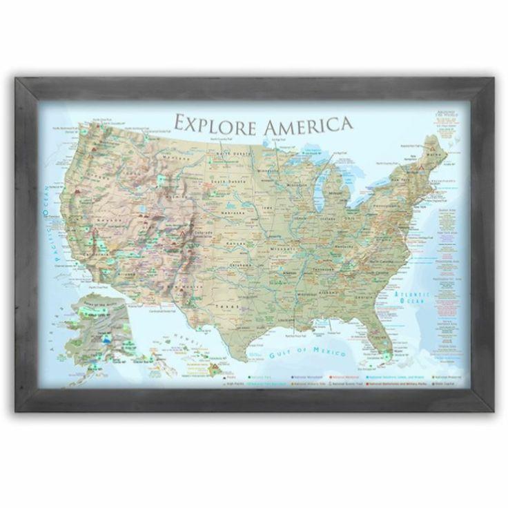 USA National Parks Map Lite Terrain