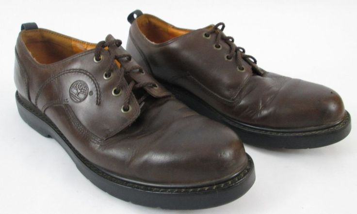 Mens Timberland Waterproof Leather Work Shoes Size 13M Brown Oxford Lace Up #Timberland #WorkSafety