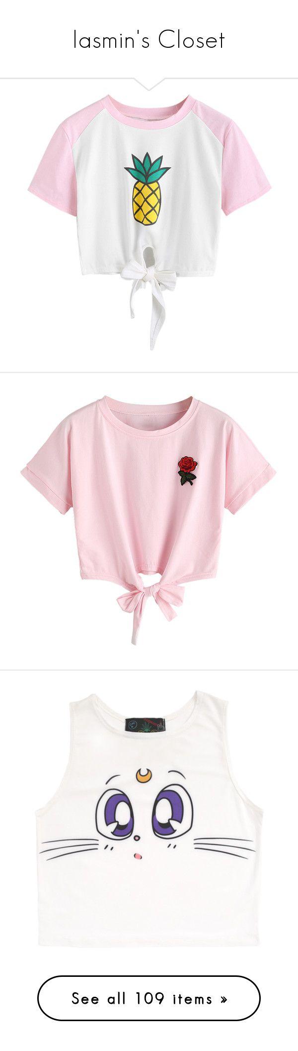 """Iasmin's Closet"" by anninhasanguinetti-435 ❤ liked on Polyvore featuring tops, t-shirts, shirts, white crop shirt, pineapple t shirt, white cotton shirt, raglan shirts, raglan t shirt, crop top and pink short sleeve shirt"