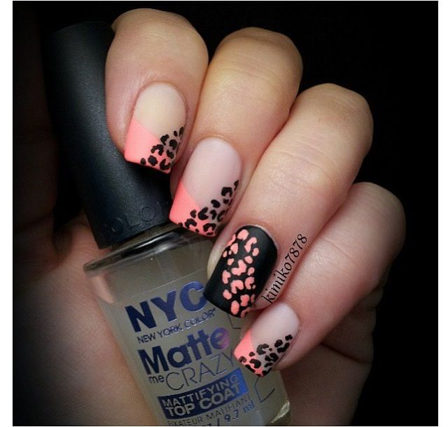 Neon French tip leopard nail art