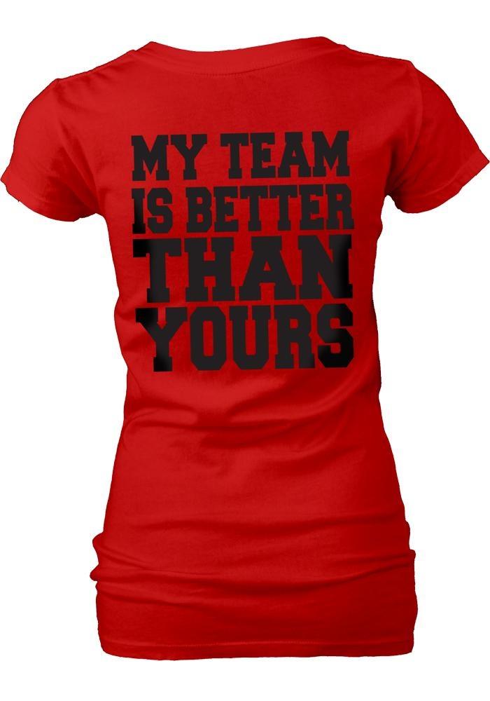 Texas Tech Red Raiders Womens Red My Team V-Neck T-Shirt (back)
