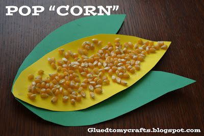 "Pop ""corn"" toddler craft. Great for thanksgiving!  You could also do this with pumpkins and pumpkin seeds."