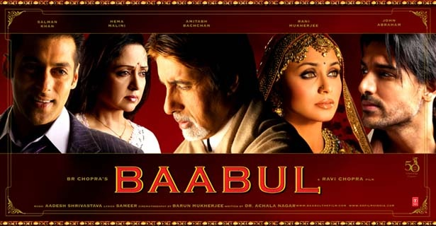 """Baabul (2006), Indian cinema-goers are prepared to accept the taboo-crossing event of watching a widow become married for a second time but evidently not prepared to watch her enjoy it.At. All.  Even if the second hub is a trade-up from Salman Khan (""""Dude, I really want to grow old with you."""") to John Abraham (who, let's face it, didn't need to make his mark by being a great dancer/actor)."""