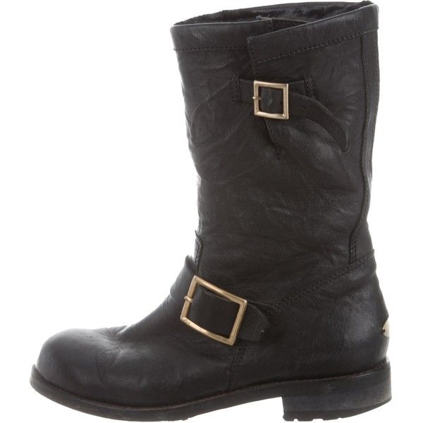 Pre-owned Jimmy Choo Fur-Lined Leather Moto Boots ($195) ❤ liked on Polyvore featuring shoes, boots, black, engineer boots, buckle boots, black block heel boots, black motorcycle boots and biker boots