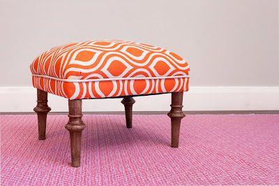 Eastlake style footstool in bold ornage fabric, on sale through Nov 6th, $245, pick-up in Salt Lake City, UT, Christa Pirl Furniture & Interiors, www.christapirlfurniture.com