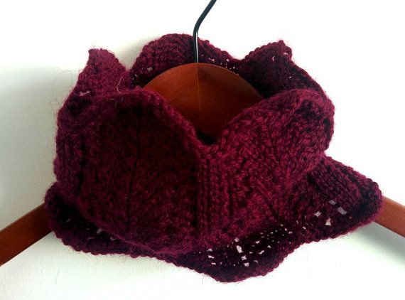 Hand knitted in New Zealand berry/wine cowl scarf  by RoamingWool