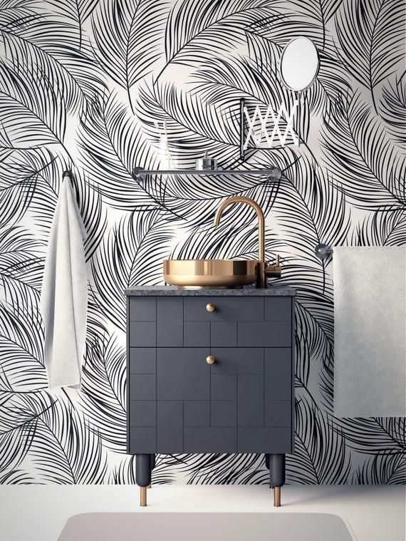 Tropical Removable Wallpaper Palm Leaves Wallpaper Modern Etsy Removable Wallpaper Peal And Stick Wallpaper Palm Leaf Wallpaper