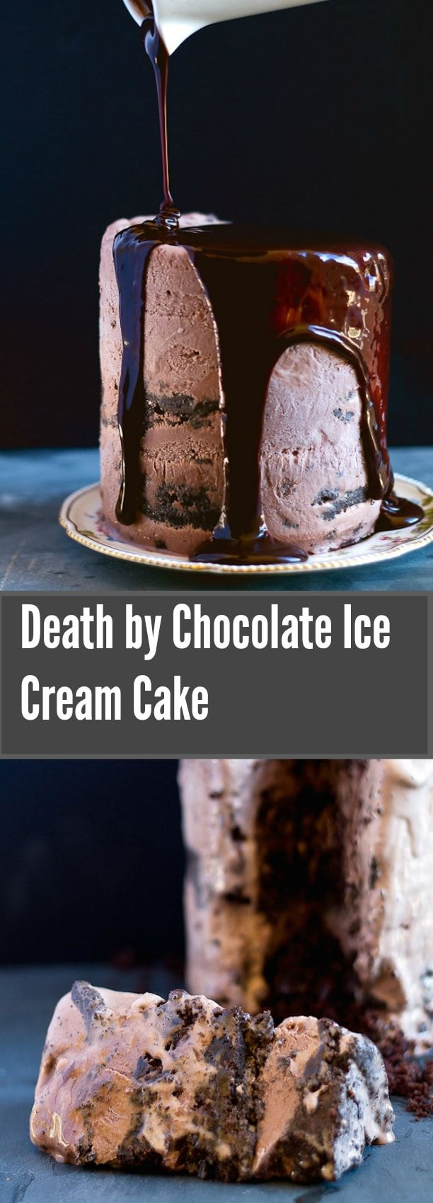 Death By Chocolate Ice Cream Cake has layers of brownie, chocolate ice cream, and chocolate crunchies, and then smothered in a river of hot fudge sauce. | Young, Broke and Hungry.