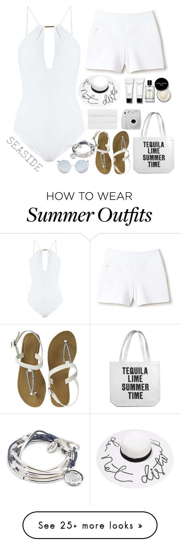 """White Summer Outfit"" by babeq on Polyvore featuring Melissa Odabash, Lacoste, Matthew Williamson, Bobbi Brown Cosmetics, Fujifilm, Christy and Lizzy James"
