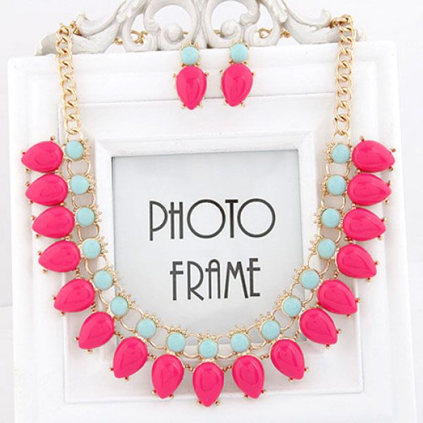 Fluorescent Candy Collar Bib Necklace_2