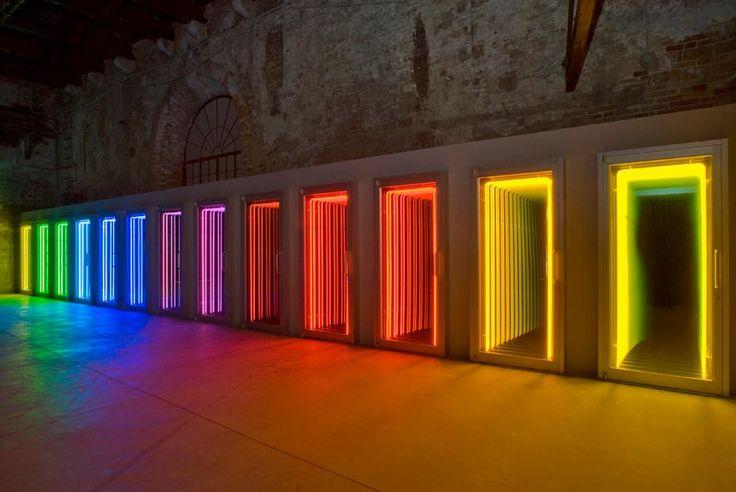 13 doors by artist Ivan Navarro, Treshold, Chilean Pavillon, Arsenal, 53rd Venice Biennial 2009