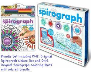 Kahootz: Spirograph Deluxe Design Set & Spirograph Coloring Book & Pencils