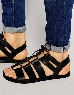 ASOS Gladiator Sandals in Black Leather With Tie Lace