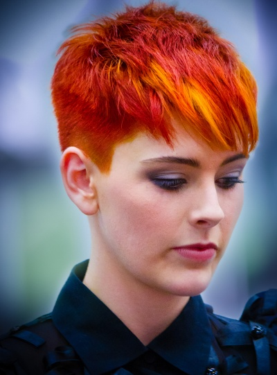 Red, orange, and yellow pixie cut...love it!