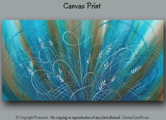 Blue Amp Brown Abstract Floral Canvas Wall Art Long Horizontal Flower Art Work Aqua Turquoise