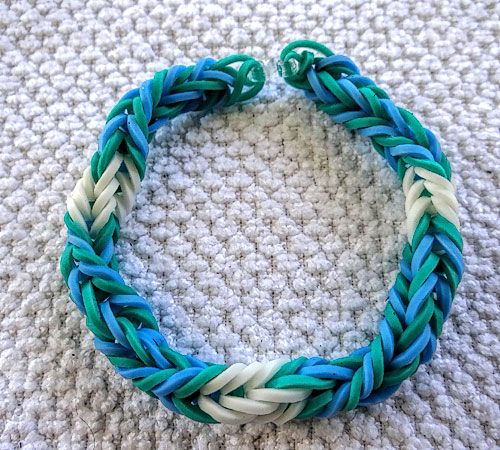 Color reference: Rainbow Loom Blue Teal White Fishtail Twist Bracelet