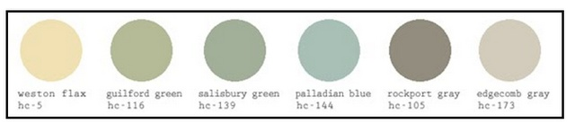 KathySue-Good Life of Design -- Here is a nice line-up of Benjamin Moore colors that I know are tried and true. Even though I don't personally do gray I think these two grays are beautiful colors to use in a     room.