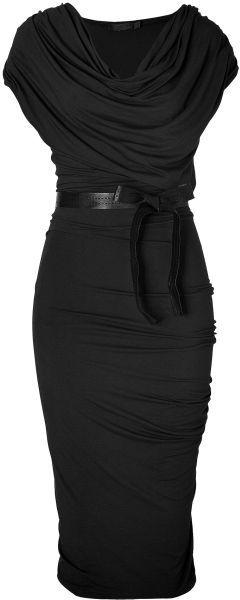 Donna Karan New York Black Black Draped Jersey Dress with Belt
