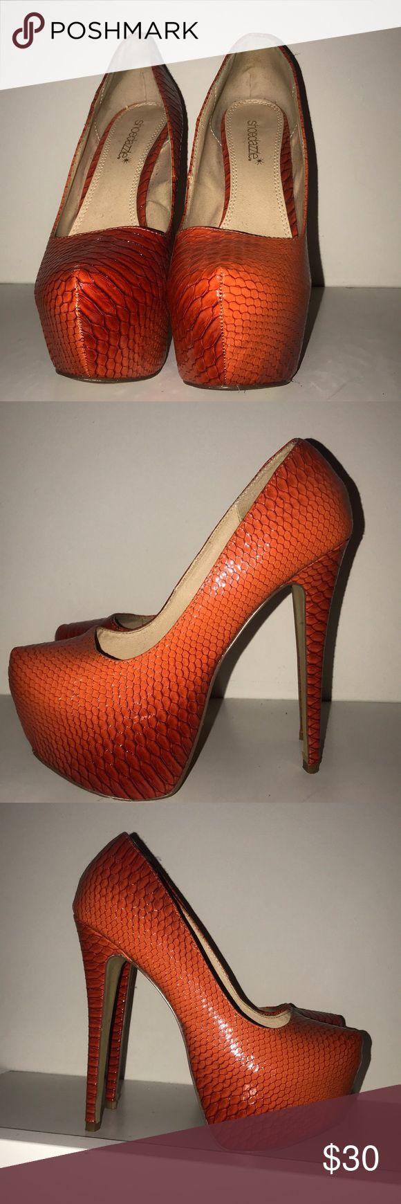 Orange high heels Great condition orange heels Shoes Platforms