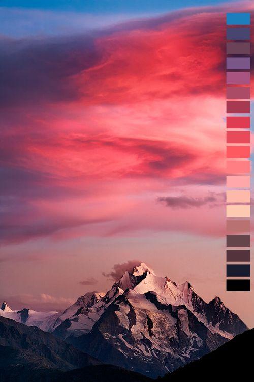 landscape featured blue pink purple colors g dark blue vertical color palette dark purple