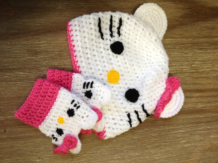 Hello Kitty Mittens Knitting Pattern : 17 Best images about CROCHET HELLO KITTY on Pinterest Hats, Childrens ...