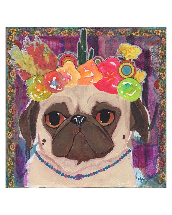Frida Kahlo Pug Art Print by Claire Chambers // Chickenpants Studio