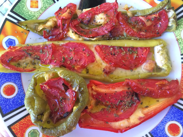 Multi colored peppers stuffed with cheese, ham, tomato and cream vinegre #foodporn #homemadecooking #recipe #meze #greece