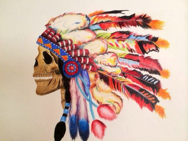 Coloured pencil drawing, skull with feathers, by Ashleigh Hunter