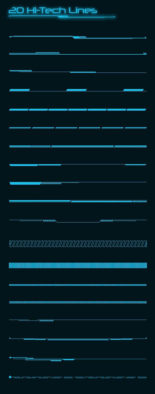 20 Hi-tech Lines Custom Shapes