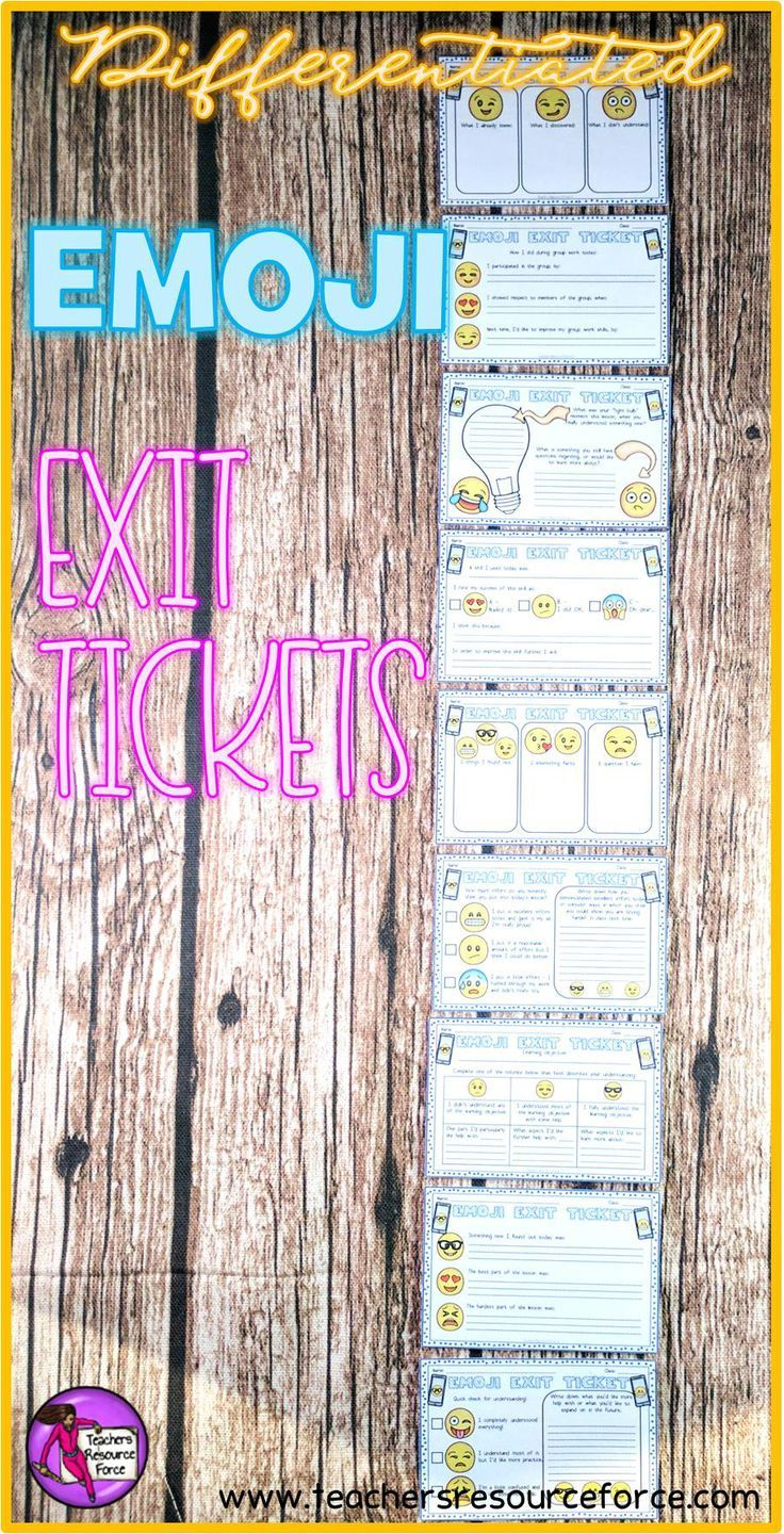 Emoji Exit Tickets for self assessment. These Emoji Exit Tickets are a great way for students to summarize what they have learned during your lesson in a fun and relatable way! @resourceforce