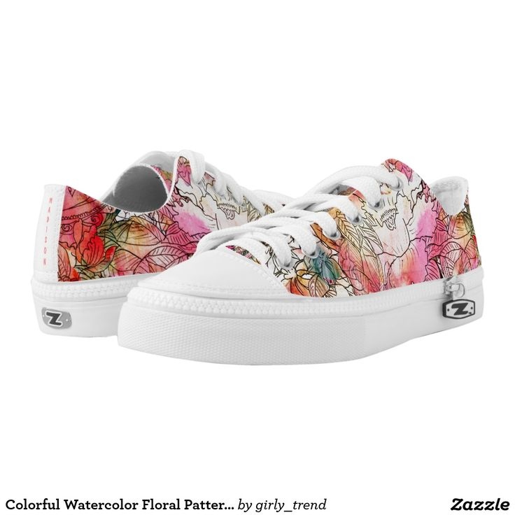 Colorful Watercolor Floral Pattern Abstract Sketch Printed Shoes