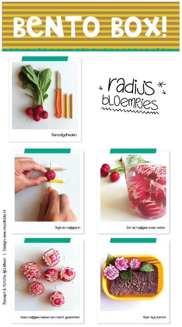 Je ziet ze nog overal liggen: rode en rood-witte radijsjes. Wij maken er graag bloempjes van, lekker retro, maar succes verzekerd. Als je ze een hele nacht in het water in de koelkast zet, dan gaan ze mooi openstaan en zal het radijsje al zijn scherpte verliezen. B