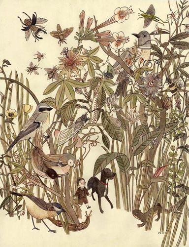 "Carson Ellis - Walk. Ink and watercolor, 25"" x 19"" (2006)"