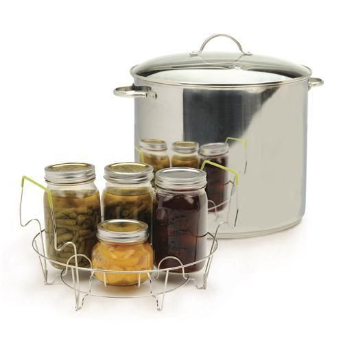 The RSVP Endurance 20-quart Stainless Steel Water Bath Canner Set features a tri-ply base for even heating and a tempered glass lid with built in steam vent. The set includes a 7-Jar canning rack. The canning rack holds seven 1 quart or pint jars in the...