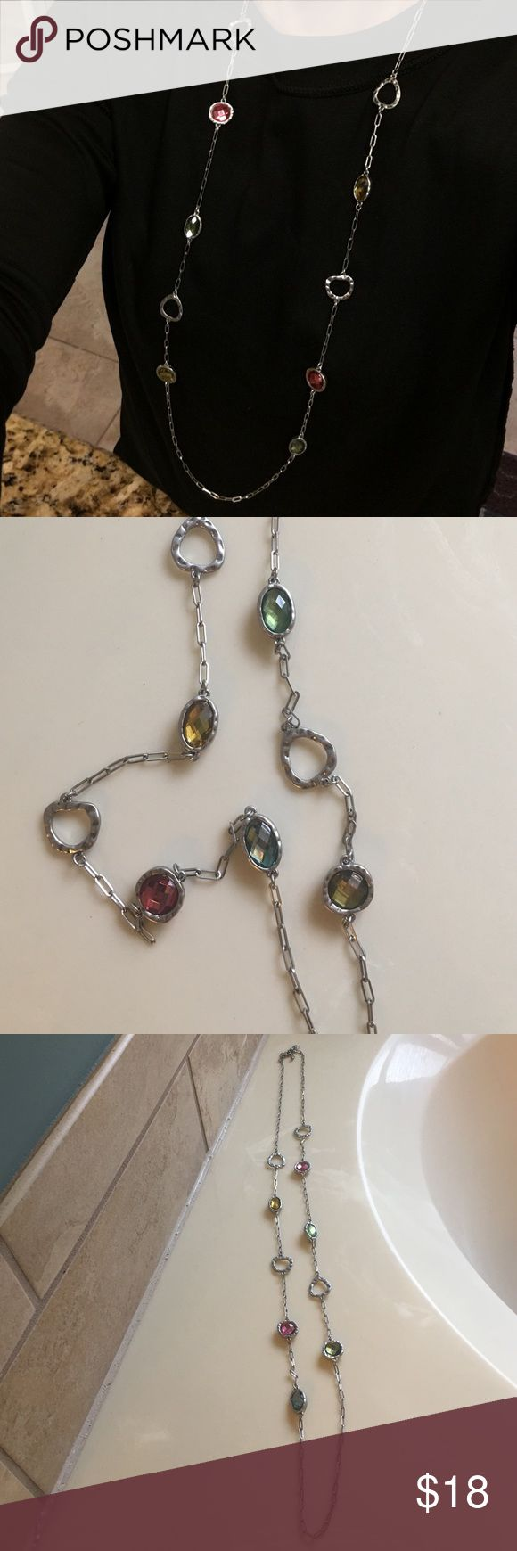 Lia Sophia Necklace Pretty long necklace with multi colored stones. Can be worn long or doubled! ❤️ Lia Sophia Jewelry Necklaces