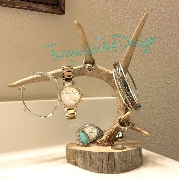 Antler Jewelry Holder Deer Antler Whitetail by TurquoiseOwlDesign